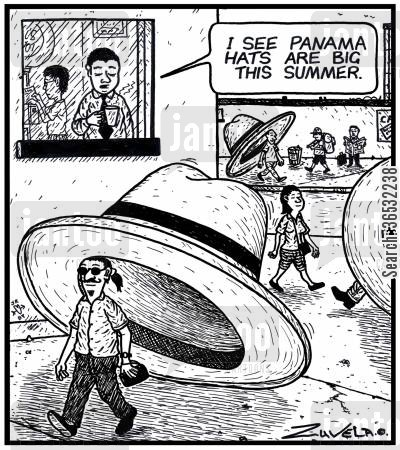 panama cartoon humor: Man: 'I see Panama hats are big this summer.'