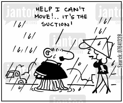 fashion disaster cartoon humor: 'Help I can't move. It's the suction.'