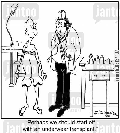 fashion advise cartoon humor: 'Perhaps we should start off with an underwear transplant.'