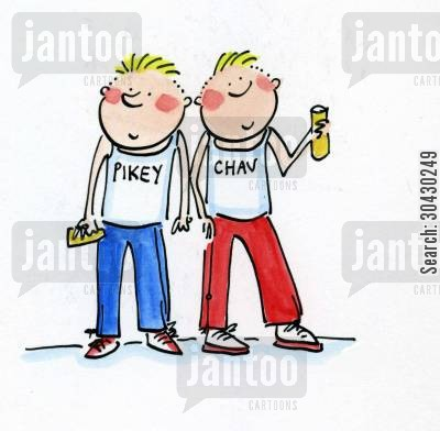 pikies cartoon humor: Pikey and Chav.