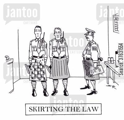 kilt cartoon humor: Skirting The Law,