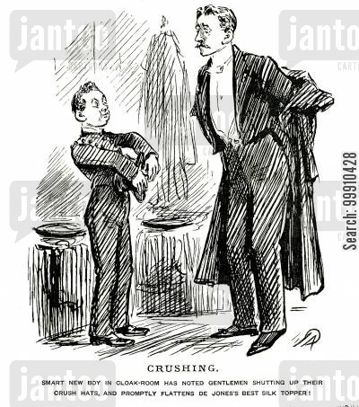 cloak room boy cartoon humor: Cloak room boy crushes top hat
