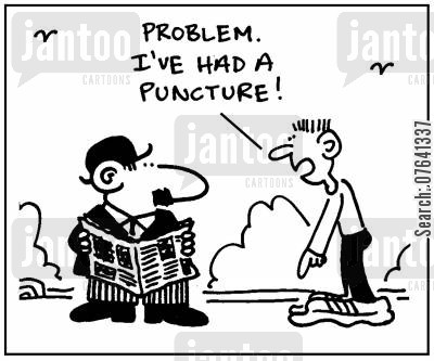 inflatable shoes cartoon humor: 'Problem. I've had a puncture.'