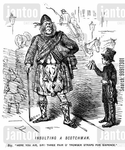 britain cartoon humor: Insulting a Scotchman.