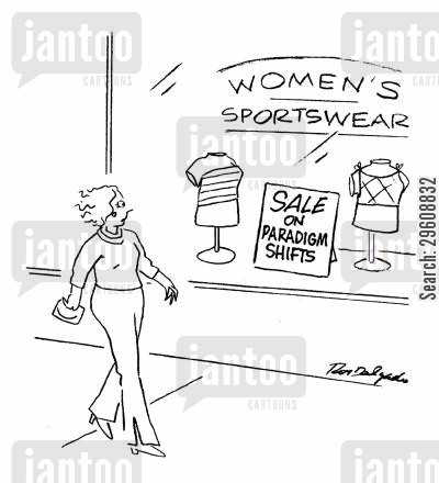 theory cartoon humor: Women's sportswear - Sale on paradigm shifts.