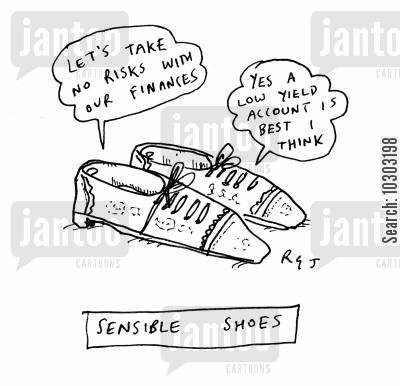 low yield account cartoon humor: Sensible shoes.