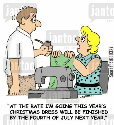 dressmaker cartoon humor: Sewing A Christmas Dress.