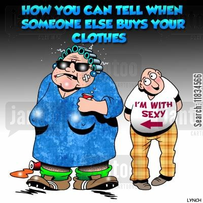 henpeck cartoon humor: How you can tell when someone else buys your clothes.