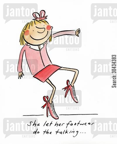 heels cartoon humor: She let her footwear do the talking....