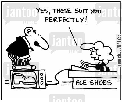 graphics program cartoon humor: 'Yes, those suit you perfectly.'
