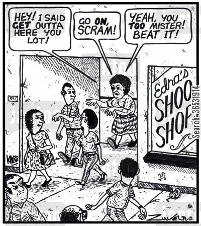 shoe shop cartoon humor: Old lady: 'HEY! I said GET outta here you lot!'