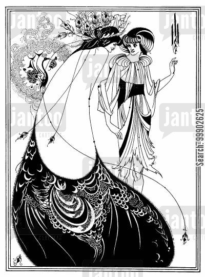 aubrey beardsley cartoon humor: The Peacock Skirt - Whistler's Peacock Room