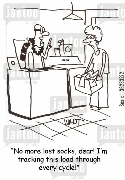lost sock cartoon humor: No more lost socks, dear! I'm tracking this load through every cycle!