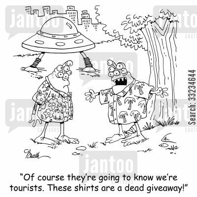hawaiian shirts cartoon humor: 'Of course they're going to know we're tourists. These shirts are a dead giveaway!'