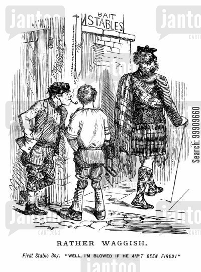 lower classes cartoon humor: Stable boys and Scottsman