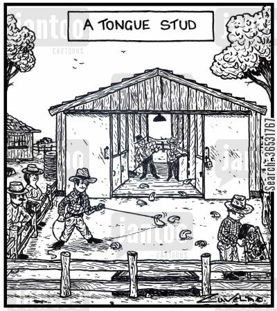 tongues cartoon humor: A Tongue Stud.