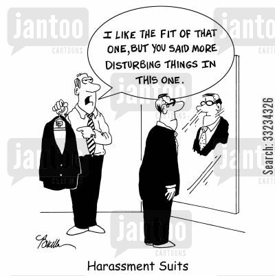 harass cartoon humor: Harassment Suits.