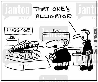 accessory cartoon humor: 'That one's alligator.'