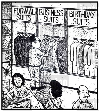 new suit cartoon humor: Formal SuitsBusiness SuitsBirthday Suits.