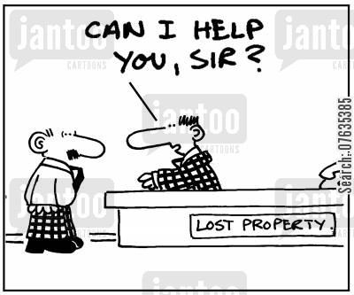 lost property desk cartoon humor: Can I help you sir?