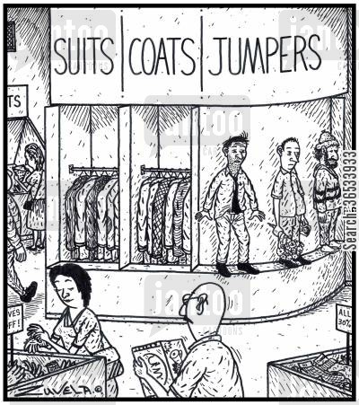 new clothes cartoon humor: Suits Coats Jumpers - Ready-to-go Suicide Jumpers for sale in a Store.