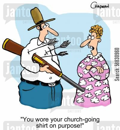 hunting trip cartoon humor: 'You wore your church-going shirt on purpose!'