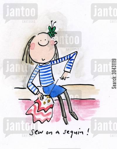 saville cartoon humor: Sew on a sequin!