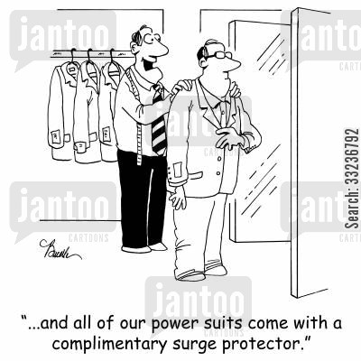power suit cartoon humor: '...and all of our power suits come with a complimentary surge protector.'