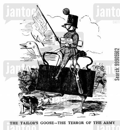 merchant tailors cartoon humor: Prince Albert Attempts to Design New Uniforms for the Army