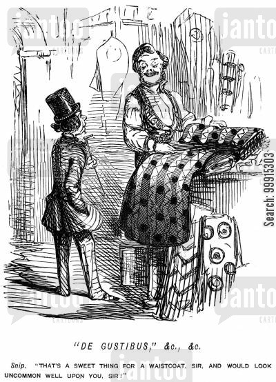 tailoring cartoon humor: Tailor suggesting fabric to a customer