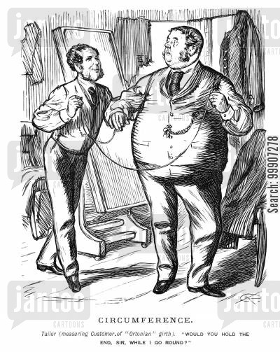 tape measure cartoon humor: A tailor measuring a large man