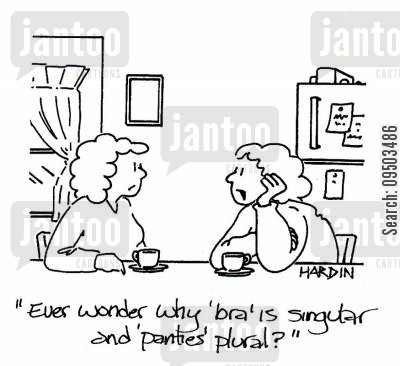 plurals cartoon humor: 'Ever wonder why 'bra' is singular and 'panties' is plural?'