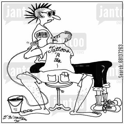barcodes cartoon humor: A punk being tattooed with a barcode at 'tattoos 'R Us.