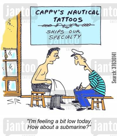 feeling low cartoon humor: 'I'm feeling a bit low today, How about a submarine'