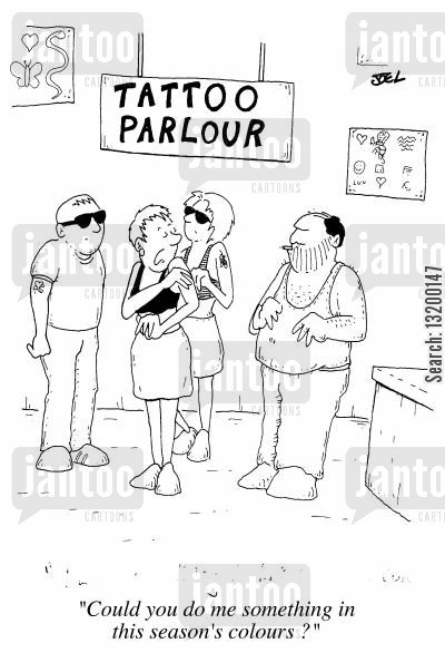 self mutilation cartoon humor: Tattoo Parlour Could you do me something in this season's colours