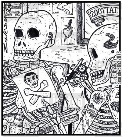 crossbones cartoon humor: A skeleton in a Tattoo parlor getting the skeleton's version of the Skull and crossbones
