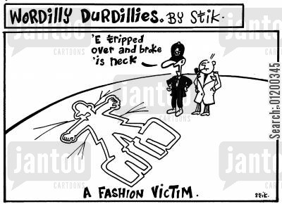raver cartoon humor: Wordilly Durdillies - A fashion victim.