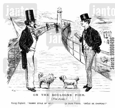 victorian fashion cartoon humor: A meeting on the pier
