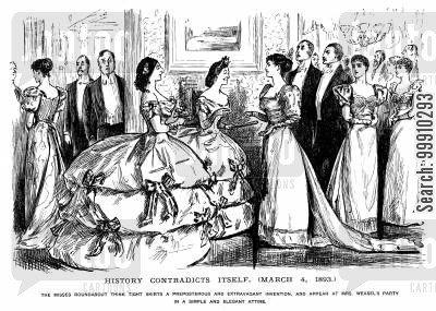 bustle cartoon humor: Ladies turn up to a party in crinolines