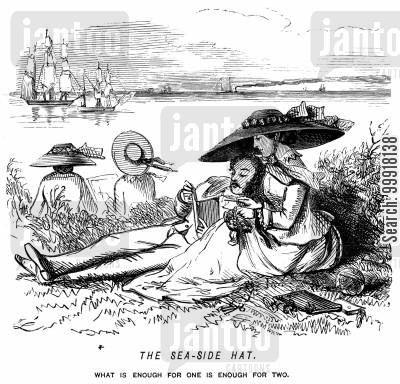 women's fashion cartoon humor: The sea-side hat.