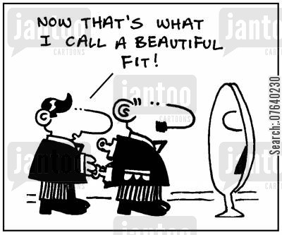 suit sizes cartoon humor: 'Now that's what I call a beautiful fit.'