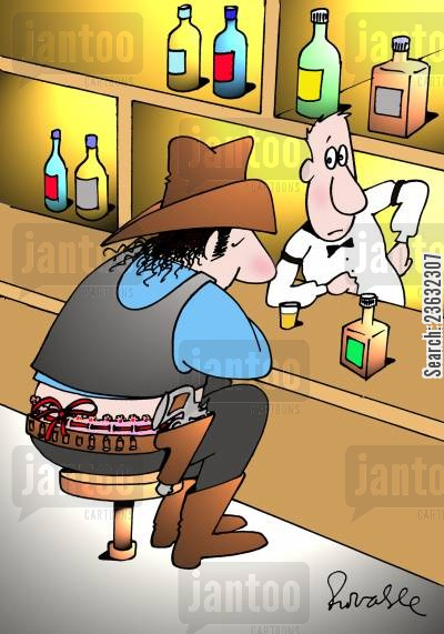 heavy drinkers cartoon humor: Cowboy.