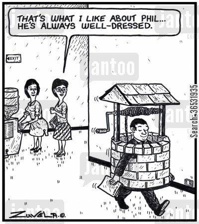 dress sense cartoon humor: Woman: 'That's what I like about Phil...he's always well-dressed.'