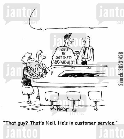 chatterboxes cartoon humor: That guy? That's Neil. He's in customer service. (Wearing T-Shirt with 'How's my chit chat? 1-800-YAK-ALOT' slogan).
