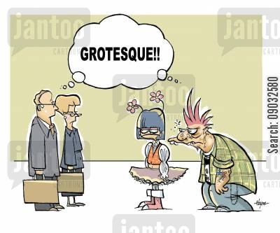 grotesque cartoon humor: 'Grotesque!'