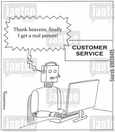 helplines cartoon humor:  'Thank heavens, finally I get a real person!'