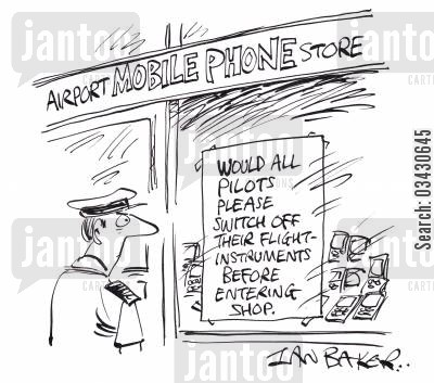 mobile phone shop cartoon humor: Airport Mobile Phone Store - All pilots please switch off flight instruments before entering.