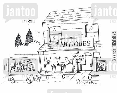 antique shops cartoon humor: Antiques. Special on Low-Def.