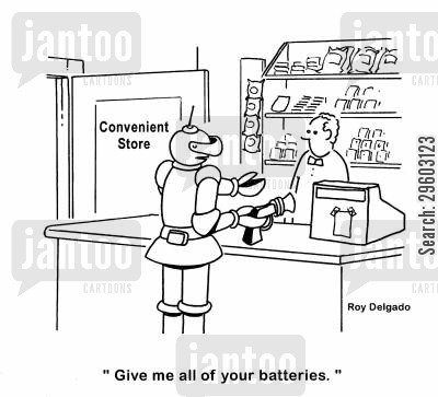 robbery cartoon humor: 'Give me all of your batteries.'