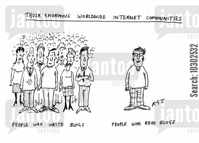 computer addict cartoon humor: 'Those enormous worldwide internet communities.'